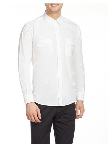 Bisse GM19K92080 Regular Fit Çift Cepli Spor Gömlek Beyaz